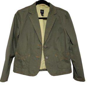 GAP Cotton Olive Green Petite Blazer
